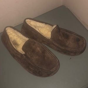 Ugg men's ascot slippers shoes sz 8 brown nice
